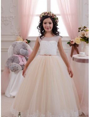 Shop Ivory & Champagne Ball Gown Lace & Tulle Long Flower Girl Dress Rockhampton